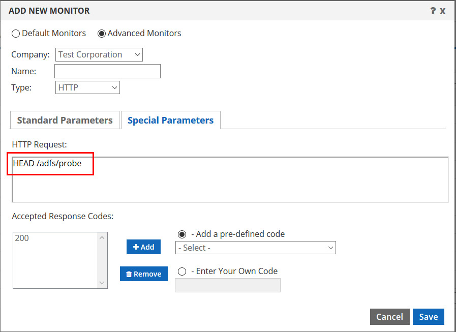 ADFS monitor special parameters tab