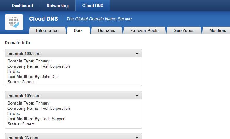 Cloud DNS Data Tab
