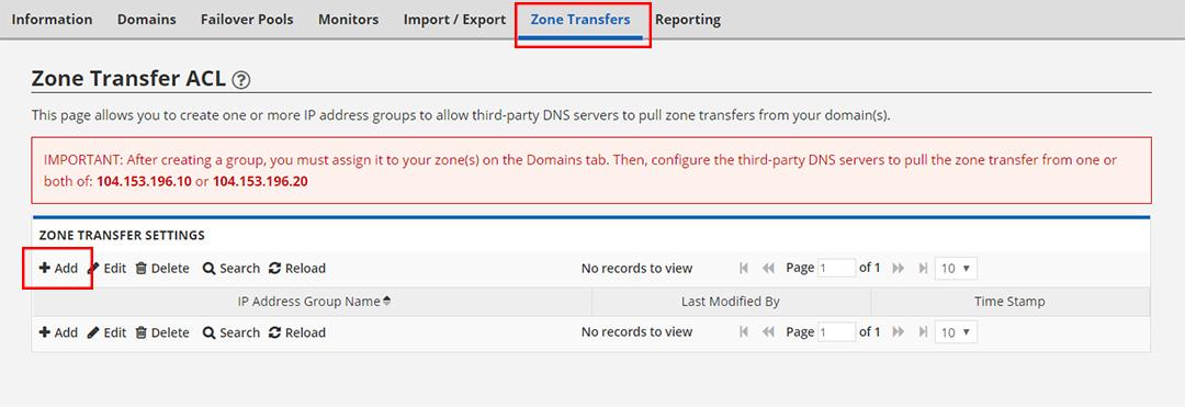 DNS Zone Transfers Tab