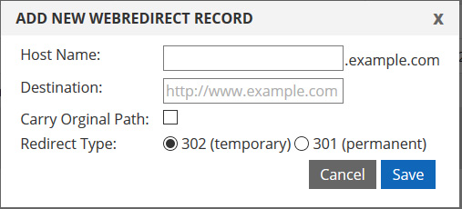 web redirect record type