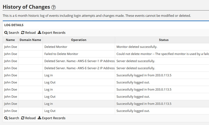 Change Log Tracking