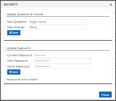 security question and answer