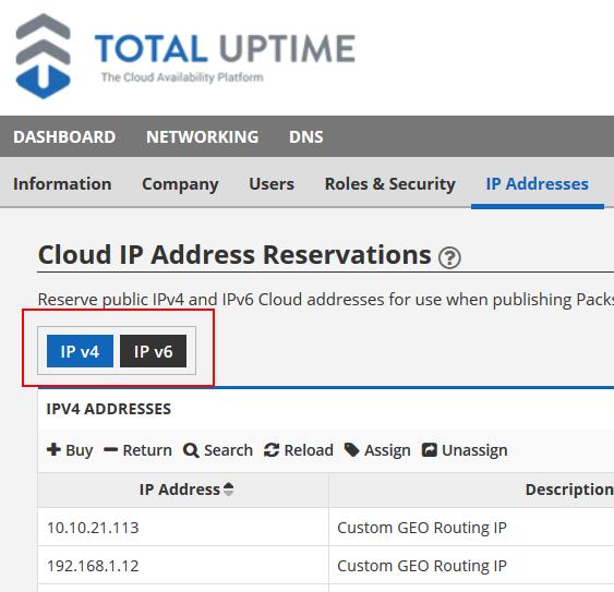 cloud IP address reservation