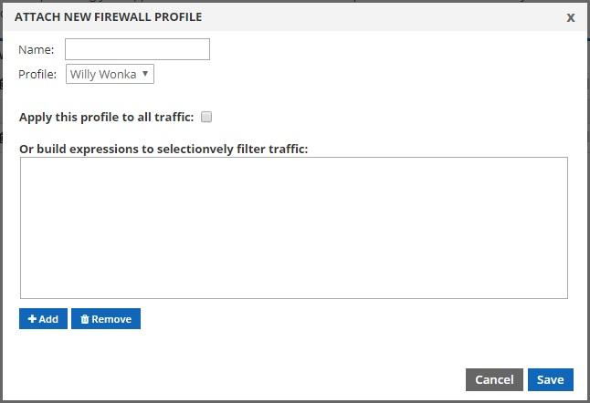 attach new firewall profile