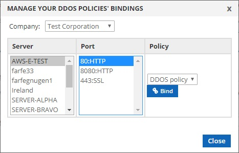 manage ddos policy bindings
