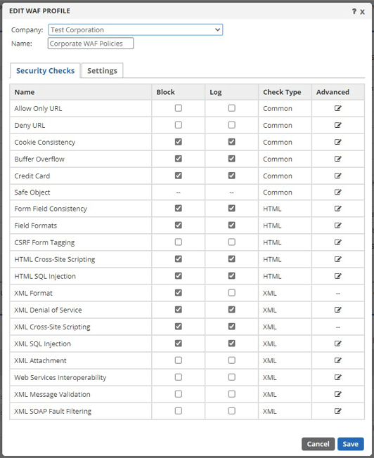 Edit WAF Profile