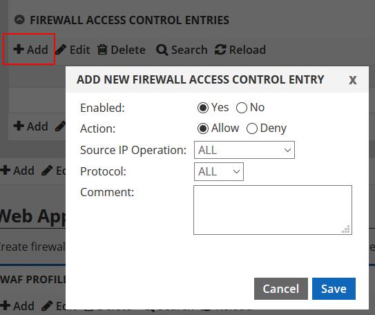 add firewall access control entry
