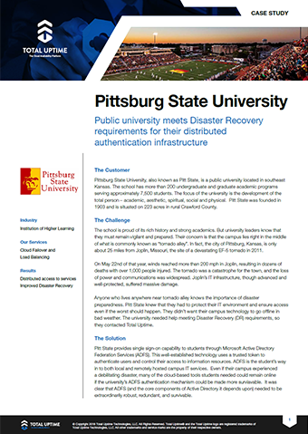 Pittsburg State University | Total Uptime®