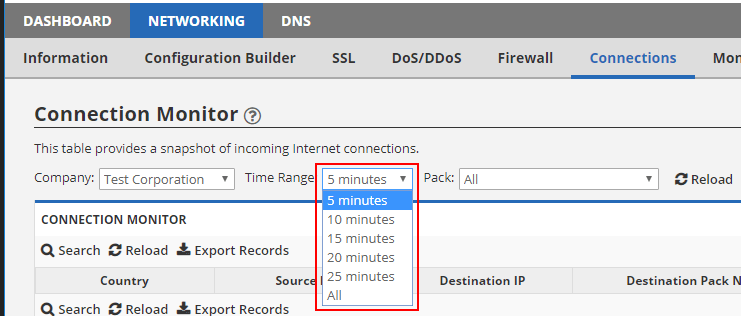 Connections Time Selector